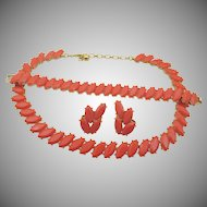 Vintage Crown Trifari Coral Lucite Parure Set