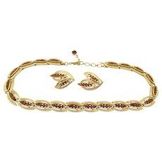 Vintage Crown Trifari Cavalcade Brown Rhinestone  Necklace and Earrings
