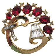 Vintage Signed Trifari Red and Baguette Rhinestone Brooch