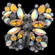 Vintage Signed Regency Rhinestone Japanned Butterfly Brooch