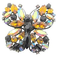 Vintage Signed Regency Rhinestone Japanned Butterfly Brooch