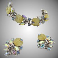 Vintage Crown Trifari Yellow Glass Shoebutton Rhinestone Bracelet and Earrings