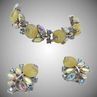Vintage Crown Trifari Yellow Glass Shoebutton Rhinestone Bracelet and Earrings