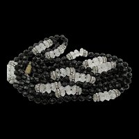 Vintage Art Deco Black Jet and Crystal Rondelle Beaded Flapper Necklace 56 Inches