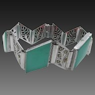 Vintage Art Deco Chevron Green Glass and Marcasite Bracelet