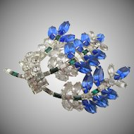 Vintage Large Spray Blue and Crystal Rhinestone Spray Brooch