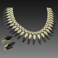 Vintage Coro Black Lucite and Gold Tone Fringe Bib Necklace and Earring