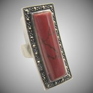 Vintage Art Deco Sterling Silver Carnelian Marcasite Ring