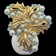 Vintage Schiaparelli Pale Blue Faux Pearl and AB Brooch