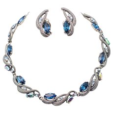 Vintage Signed Schiaparelli Twisted Japanned Silver Blue Rhinestone Necklace and Earrings