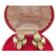 Vintage Signed Schiaparelli Art Glass Yellow Rhinestone Clip Earrings