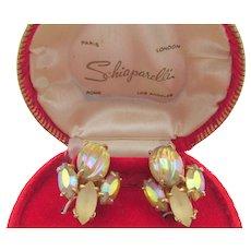 Vintage Signed Schiaparelli Art Glass Yellow Rhinestone Clip Earrings