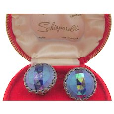Vintage Signed Schiaparelli Blue Faceted Iridescent Clip Earrings