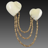 Vintage Miriam Haskell Mother of Pearl Double Heart Chatelaine Brooch