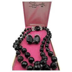 Vintage Signed Schiaparelli Black Faceted Glass Beaded Necklace and Clip Earrings