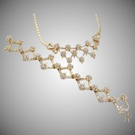 Exquisite Vintage Baguette and Floral Cluster Rhinestone Necklace and Bracelet