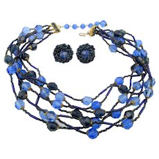 Vintage Signed Vogue Blue Glass Beaded Necklace and Clip Earrings