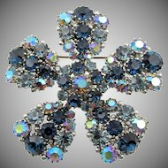 Vintage Austrian Blue AB Movement Rhinestone Brooch 3+ Inches