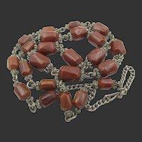 Vintage Chocolate Bakelite Wire Work Necklace