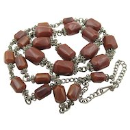Vintage Chocolate Bakelite Wire Work Necklace
