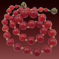 Vintage Art Deco Carnelian Graduated Beaded Choker Necklace