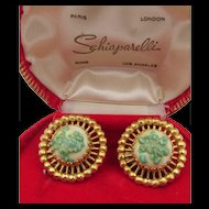 Vintage Signed Schiaparelli Pebbled Turquoise Glass Clip Earrings