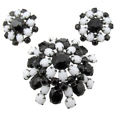 Vintage Signed Schreiner Black Faceted and White Milk Glass Rhinestone Brooch and Earrings - Red Tag Sale Item