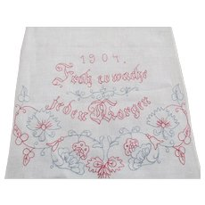 Antique 1904 Monogrammed German Show Towel