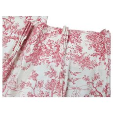 Vintage French Toile Pleated Cafe Curtain Panels