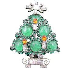 Lawrence Vrba Christmas Tree Flawed Emerald Rhinestone Brooch
