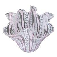 Vintage Signed Murano Glass Pink Zanfirico Fazzoletto Handkerchief Vase