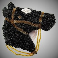 Vintage 1940s Beaded Horse and Reins Brooch