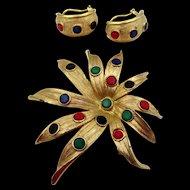 Vintage Kramer Starburst Jewel Tone Cabochon Brooch and Earrings