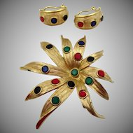 Vintage Kramer Starburst Jewel Tone Cabochon Brooch and Earrings