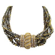 Vintage Ciner Seven Strand Metallic Beaded and Rhinestone Necklace