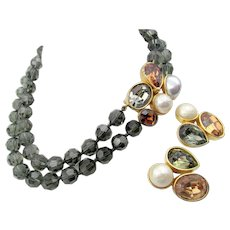 Vintage Ciner Smoky Crystal Beaded Necklace Chunky Rhinestone Clasp and Earrings