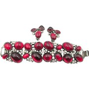 Vintage 1940s Red Cabochon Thick Bracelet and Earring Set