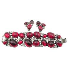 Vintage Selro Large Red Cabochon  Bracelet and Earring Set