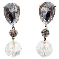 Vintage Signed Les Bernard Crystal Drop Clip Earrings