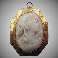 Vintage 10k Yellow Gold Carved Coral Cameo Woman Crown Floral Brooch Pendant