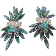 Vintage  B.E. Cook London Blue and Green Rhinestone Earrings
