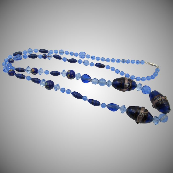 necklace black glass grande products larijworks blue oblong and
