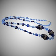 Vintage Venetian Murano Wedding Cake Blue Glass Necklace