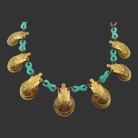 Authentic Art Deco Chrysoprase and Brass Necklace