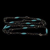 Vintage Black and Green Glass Art Deco 52 Inch Necklace