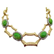 Estate Alexis Bittar Brushed Green Faceted Cabochon Necklace