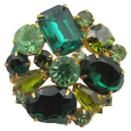 Vintage Large Green Rhinestones Double Layer Brooch