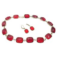 Vintage Red Glass  Bezel Set Rhinestone Necklace and Pierced Earrings