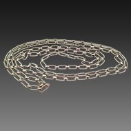 1920s Silver Tone Link Chain Necklace 52 Inches