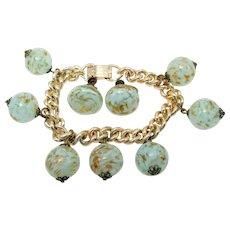 Venetian Murano Blue Glass Fluss Beaded Charm Bracelet and Earrings